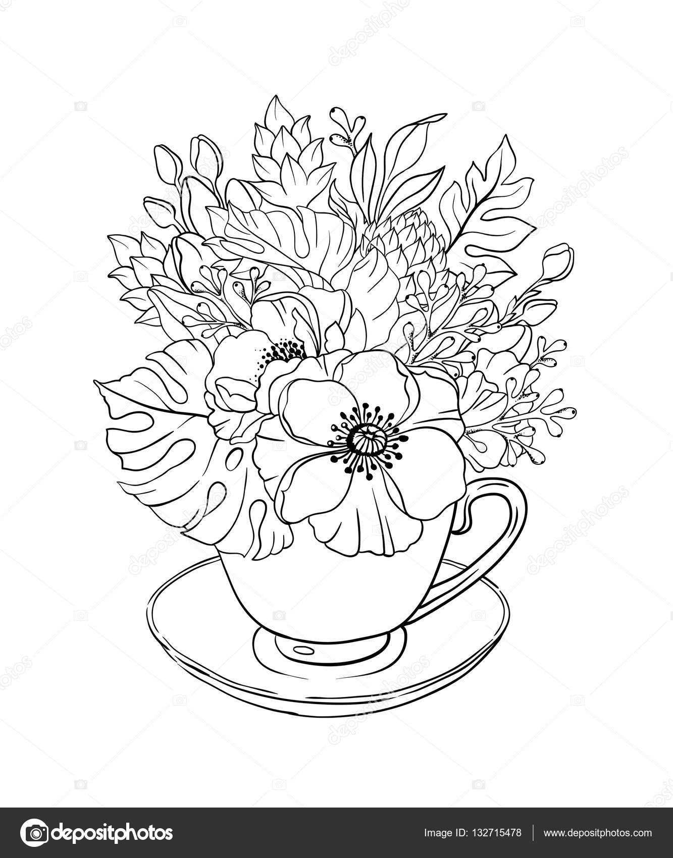 çiçek Buketi çay Bardağı Stok Foto Wacomka 132715478