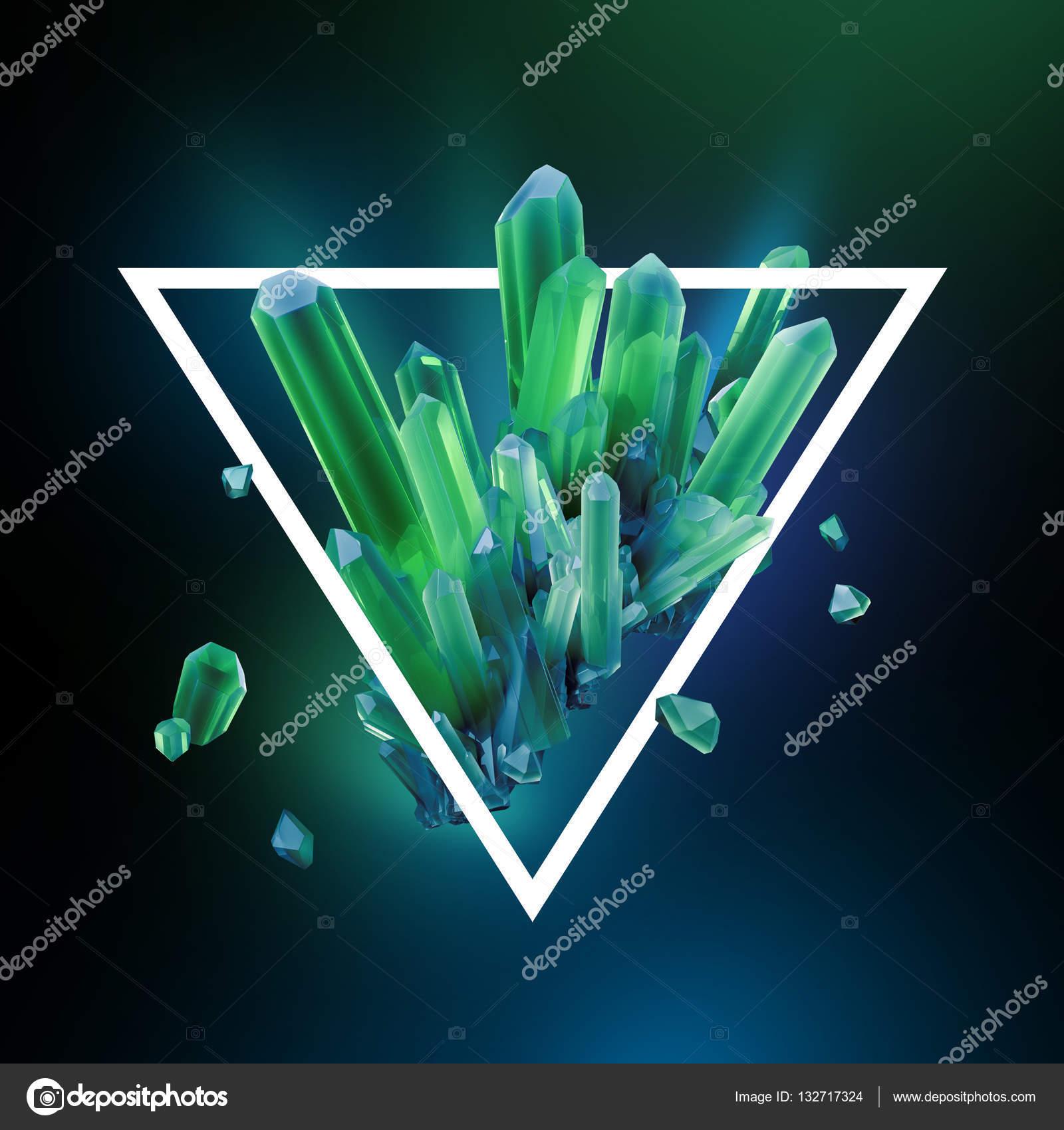 render 3D, Ilustración digital, cristales abstractos en marco del ...