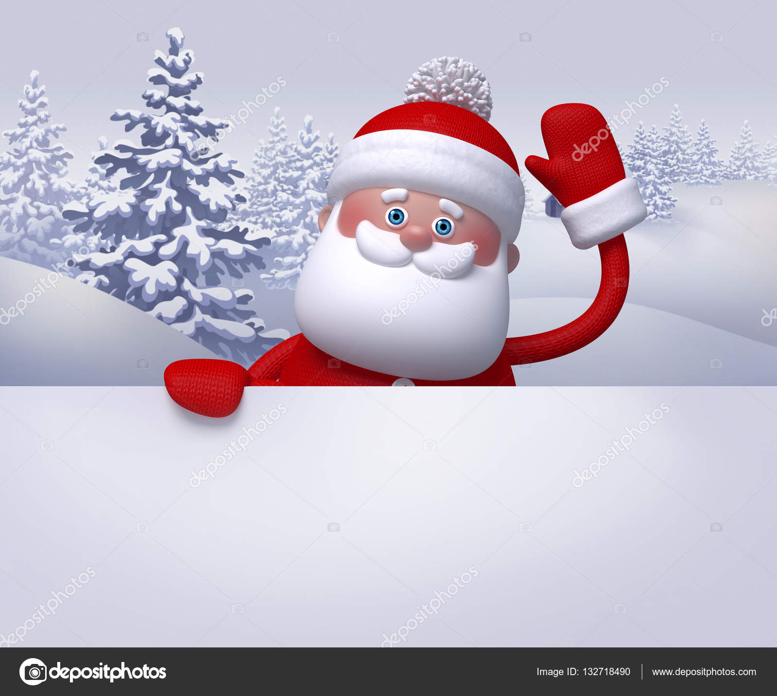 3d render digital illustration santa claus waving hand winter nature snowy forest landscape christmas background greeting card template blank banner