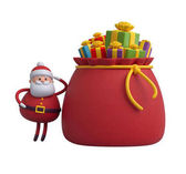 Santa Claus  with gift boxes in bag