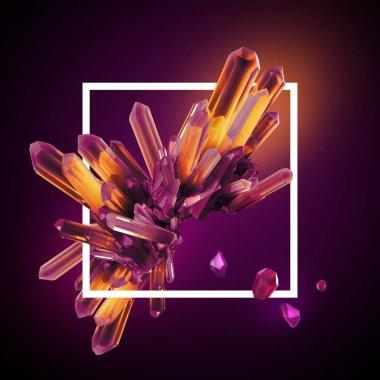 3d render, digital illustration, abstract crystals in square frame