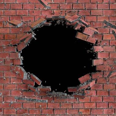 abstract broken brick wall