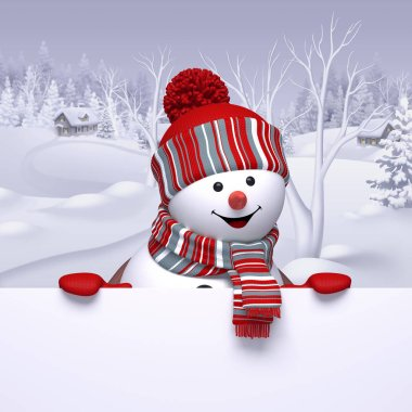 funny snowman holding white board,