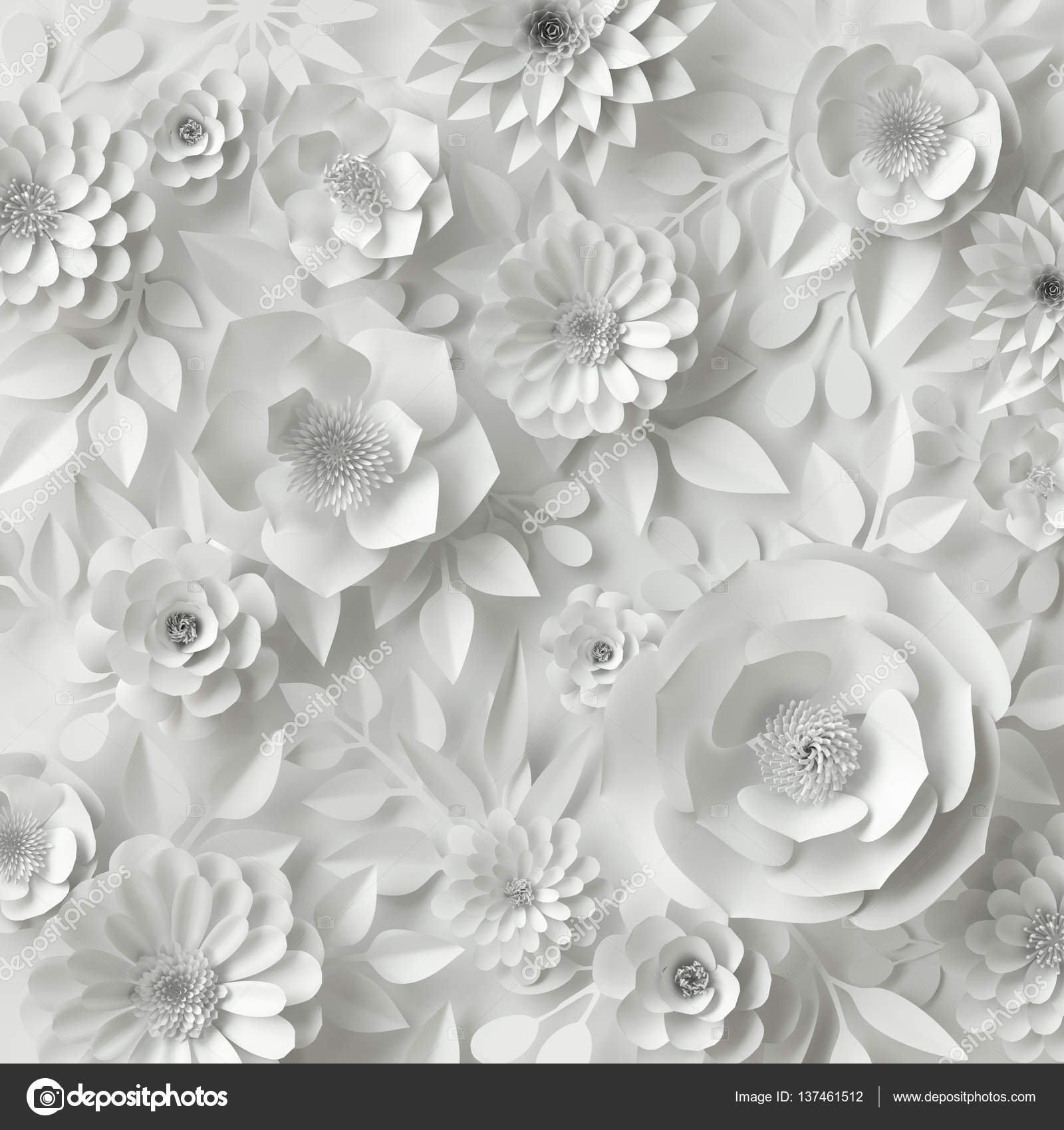 3d render digital illustration white paper flowers floral 3d render digital illustration white paper flowers floral background bridal bouquet wedding card quilling greeting card template photo by wacomka mightylinksfo