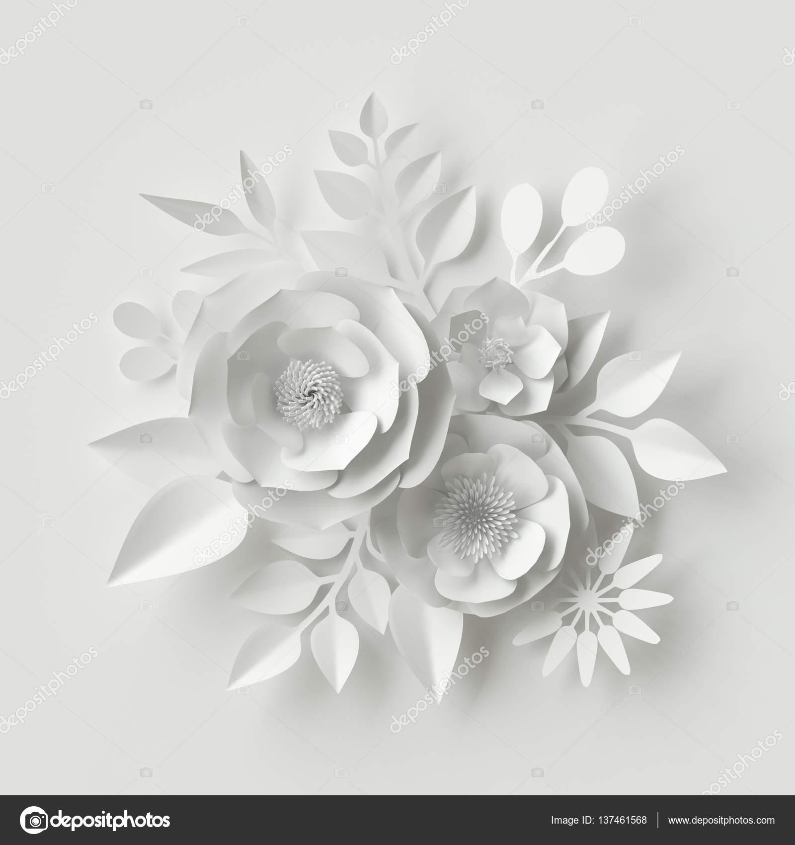 3d render digital illustration white paper flowers floral