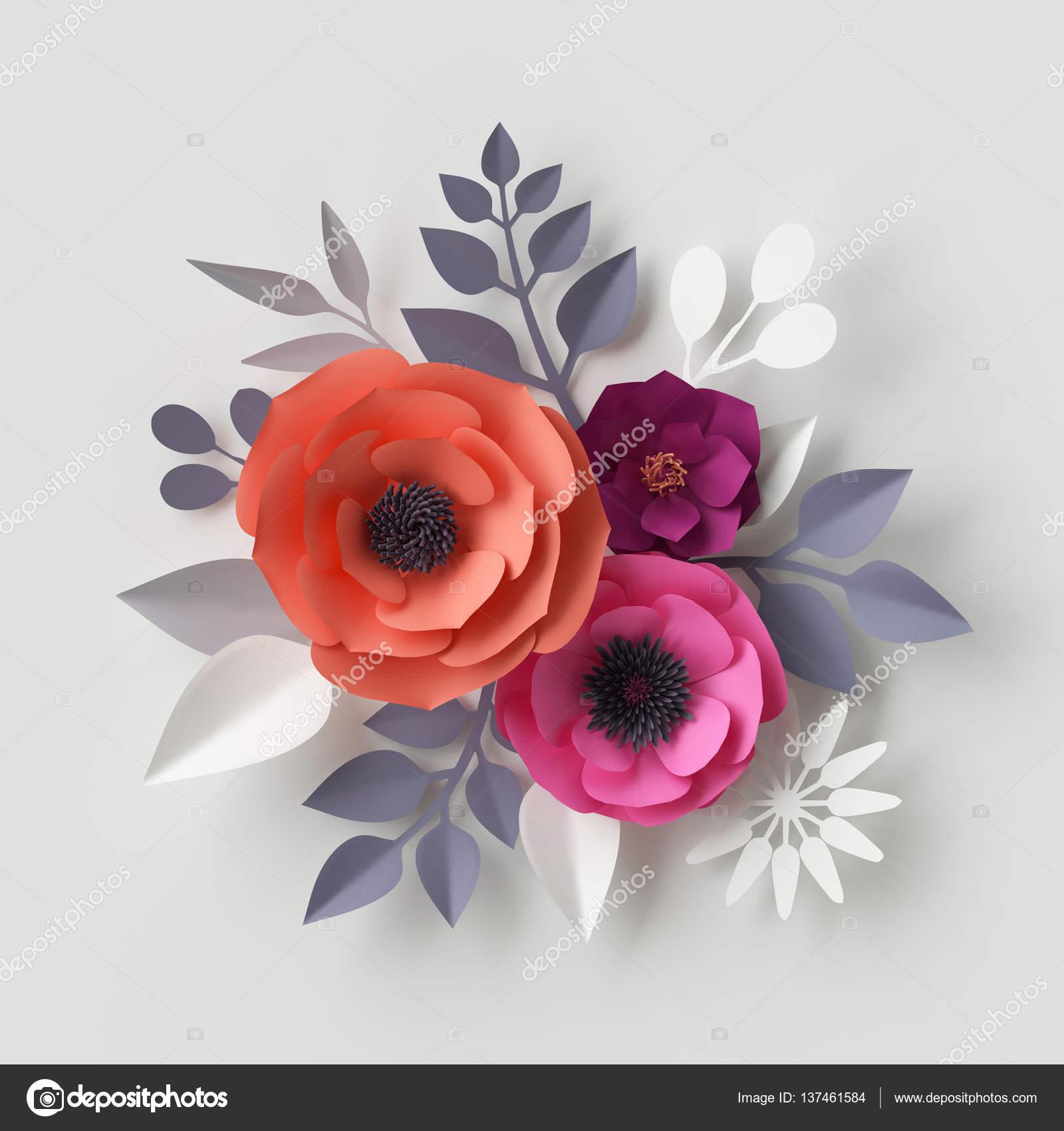 3d render digital illustration red pink paper flowers floral