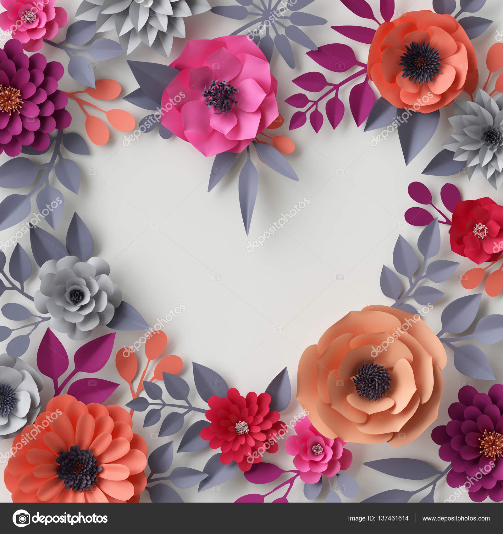 3d Render Digital Illustration Red Pink Orange Paper Flowers