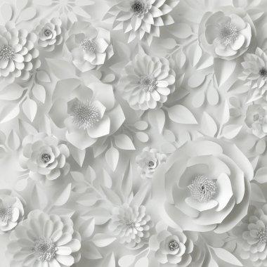 """Картина, постер, плакат, фотообои """"3d рендеринг, цифровая иллюстрация, белые бумажные цветы, цветочный фон, свадебная открытка """", артикул 137461512"""