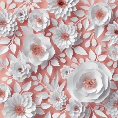 3d render, digital illustration, red pink paper flowers, bridal floral background, wedding card