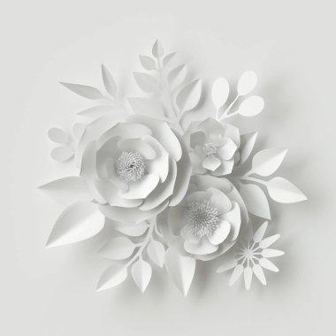 3d render, digital illustration, white paper flowers, floral background, wedding card