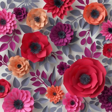 3d render, digital illustration, red pink paper flowers, bridal floral background, Valentine's day, wedding card