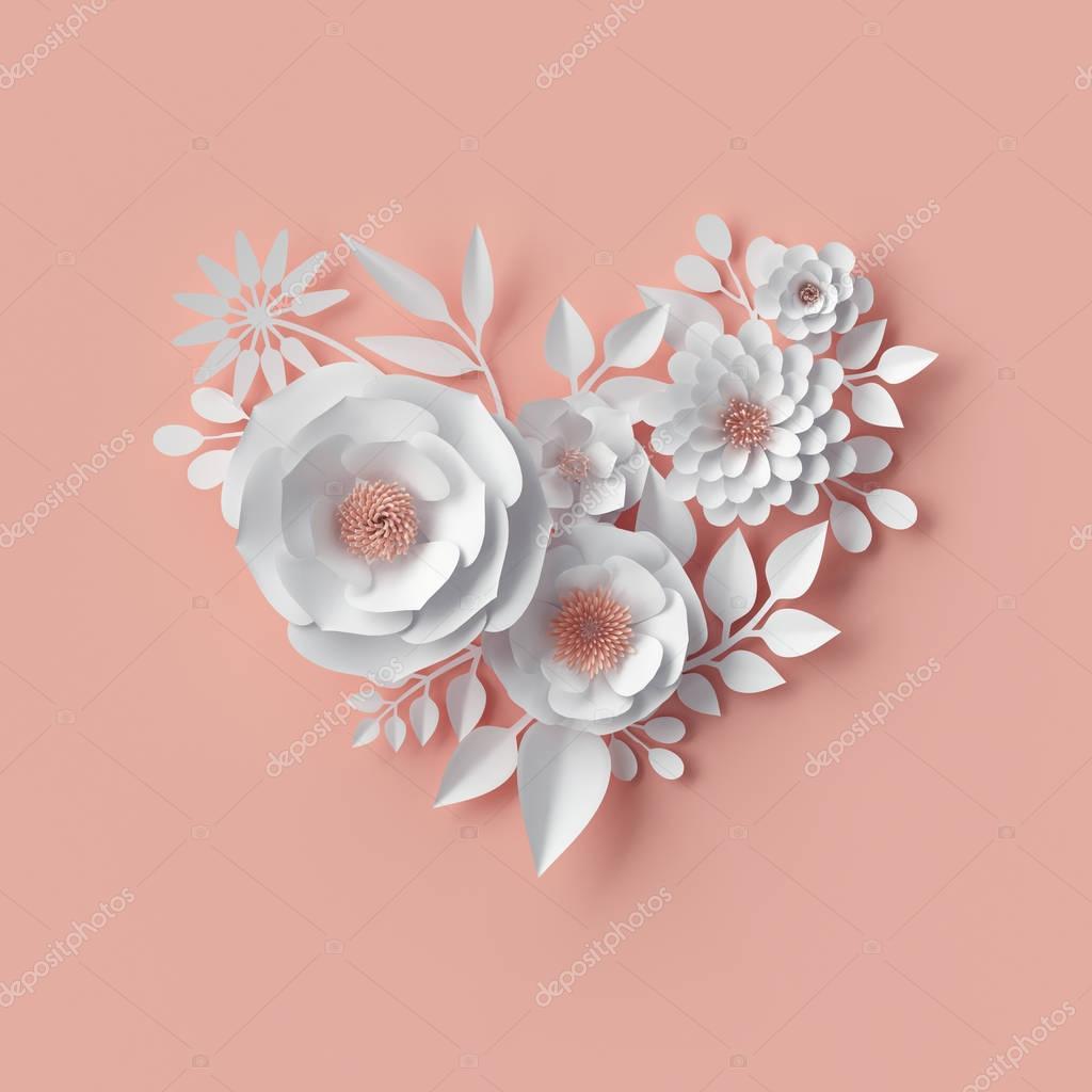 3d render, digital illustration, white paper flowers, blush pink floral background, Valentine's day heart, wedding card