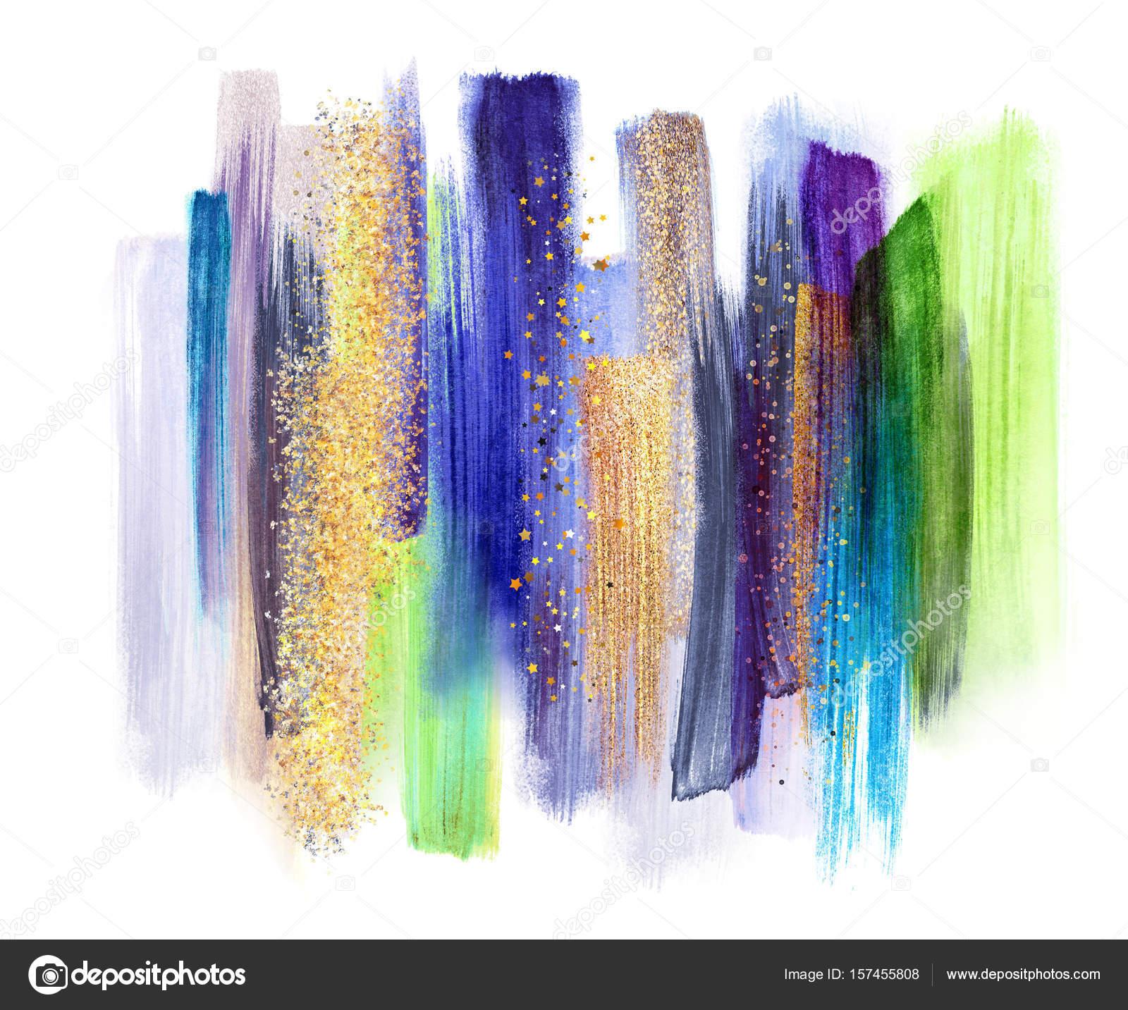 Coups De Pinceau Aquarelle Abstraite Isol S Sur Fond Blanc Or Vert