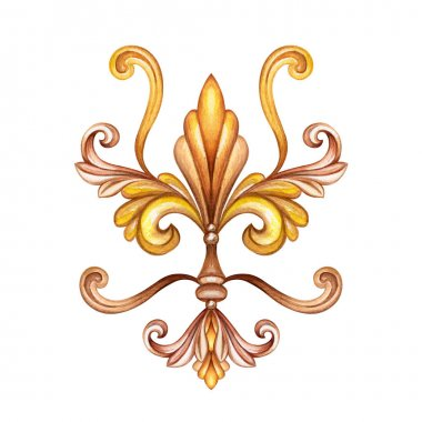 watercolor illustration, fleur de lis, acanthus, decorative element, vintage ornament clip art