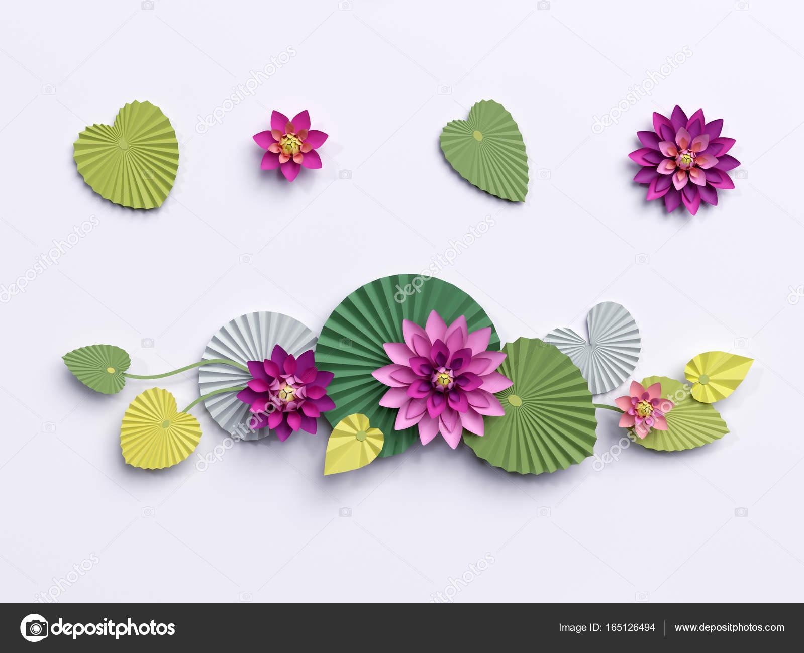 3d Render Paper Lotus Flowers Wall Decoration Border Pink Wa