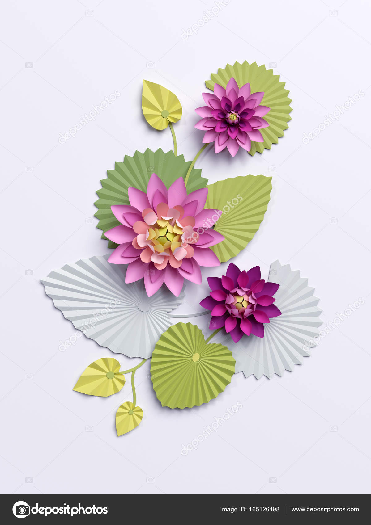 3d Render Paper Lotus Flowers Wall Decoration Pink Water Lily