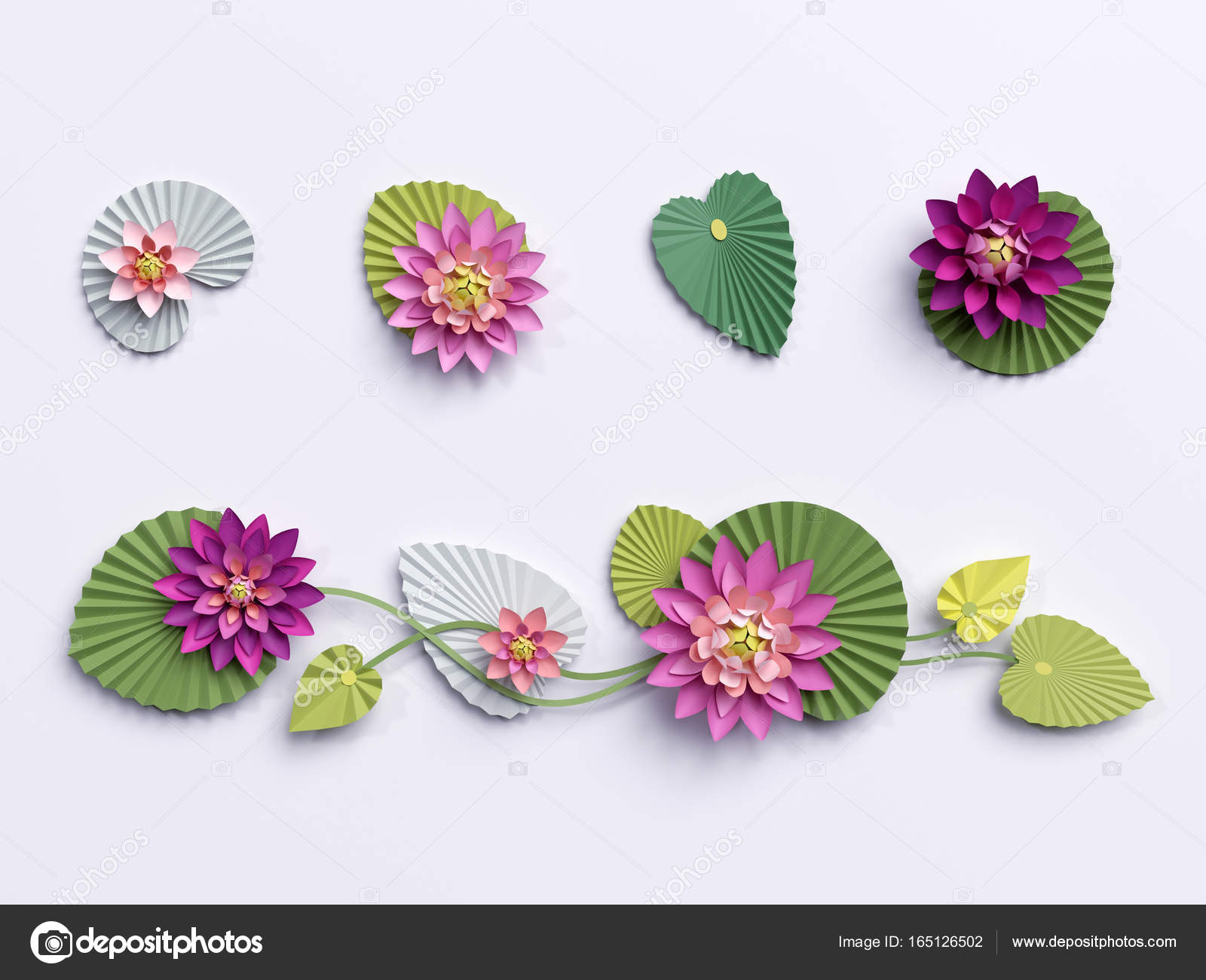 3d render paper lotus flowers wall decoration border pink wa 3d render paper lotus flowers wall decoration border pink water lily green leaves design elements isolated on white background photo by wacomka mightylinksfo