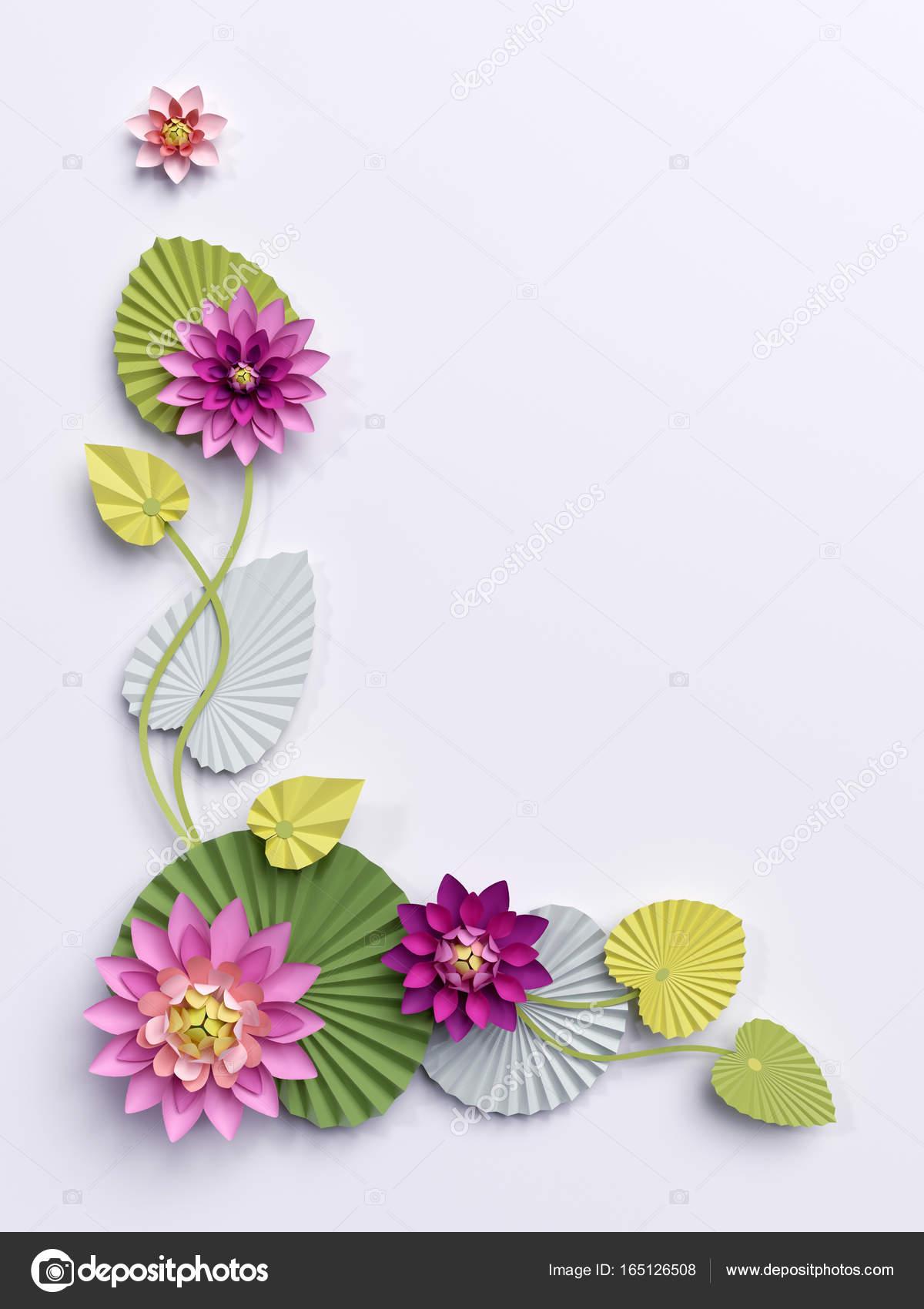 3d render paper lotus flowers corner wall decoration pink wat 3d render paper lotus flowers corner wall decoration pink wat stock photo mightylinksfo