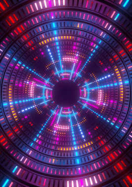 3d render, purple, blue, pink, neon lights, round hole, tunnel, abstract geometric background