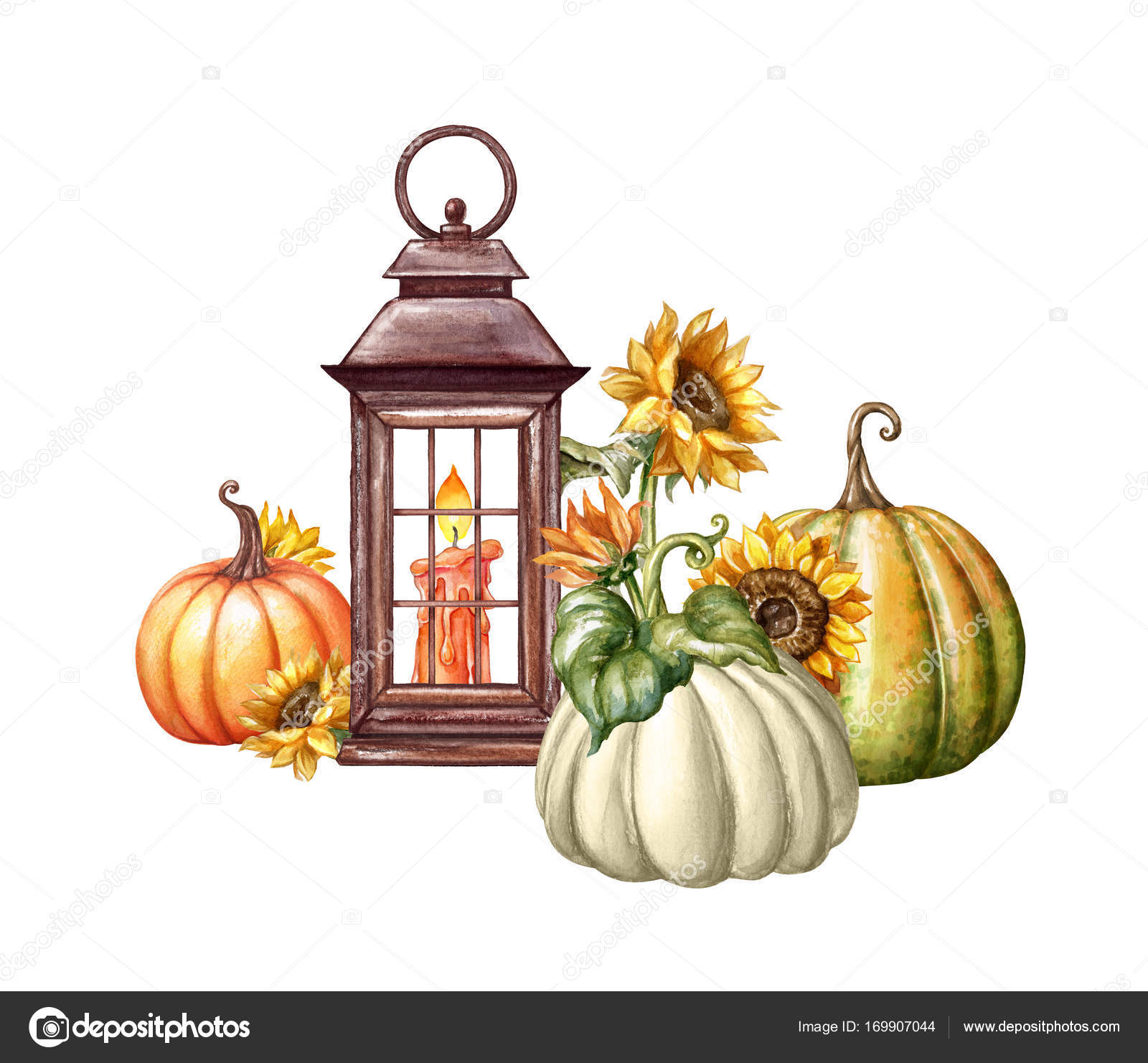 Watercolor Illustration Thanksgiving Flowers Rustic Lantern Autumn Pumpkin Harvest Fall Halloween Holiday Clip Art Isolated On White Background