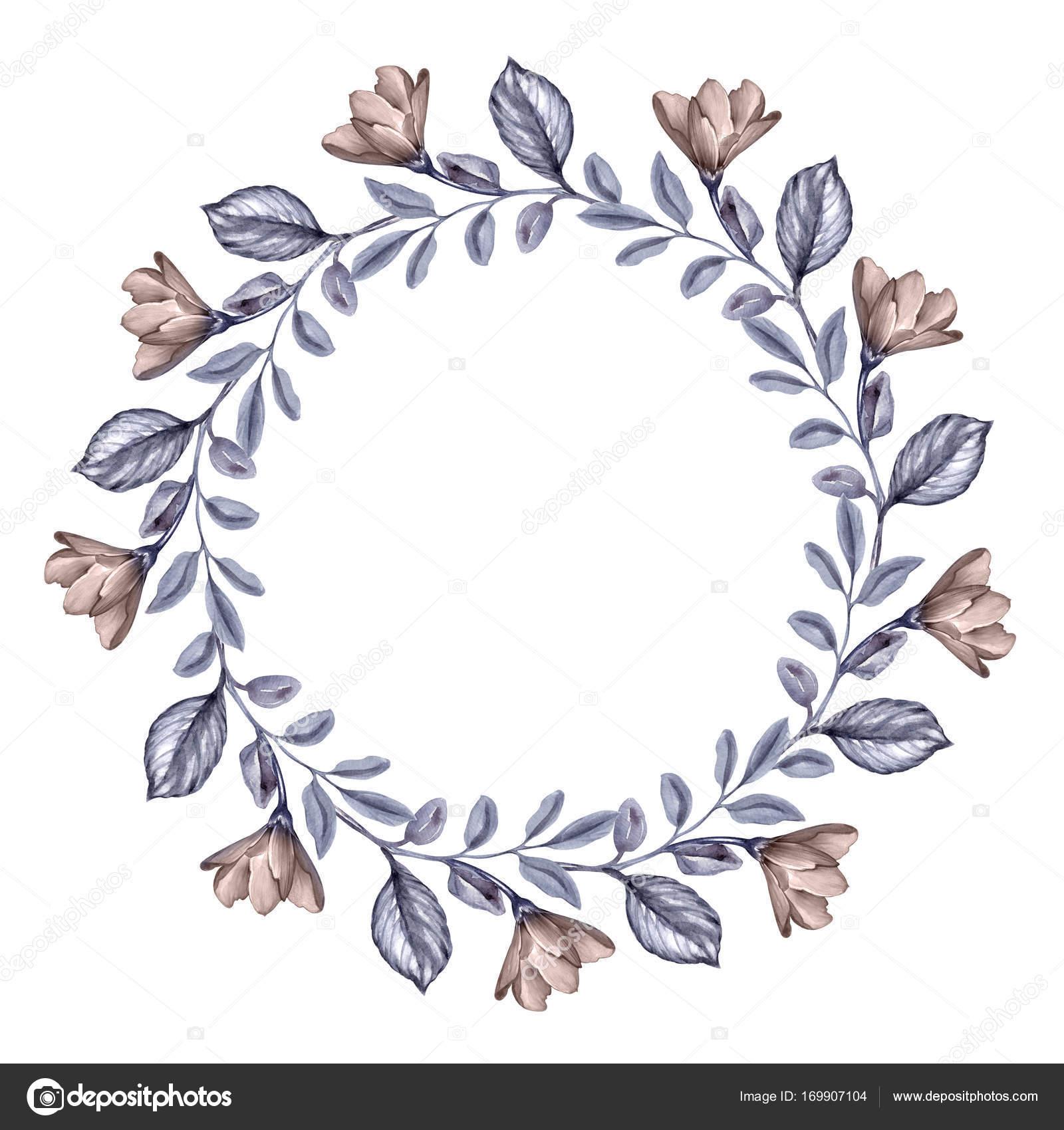 水彩画ボタニカル イラスト丸い花の花輪乾燥した秋の花し葉