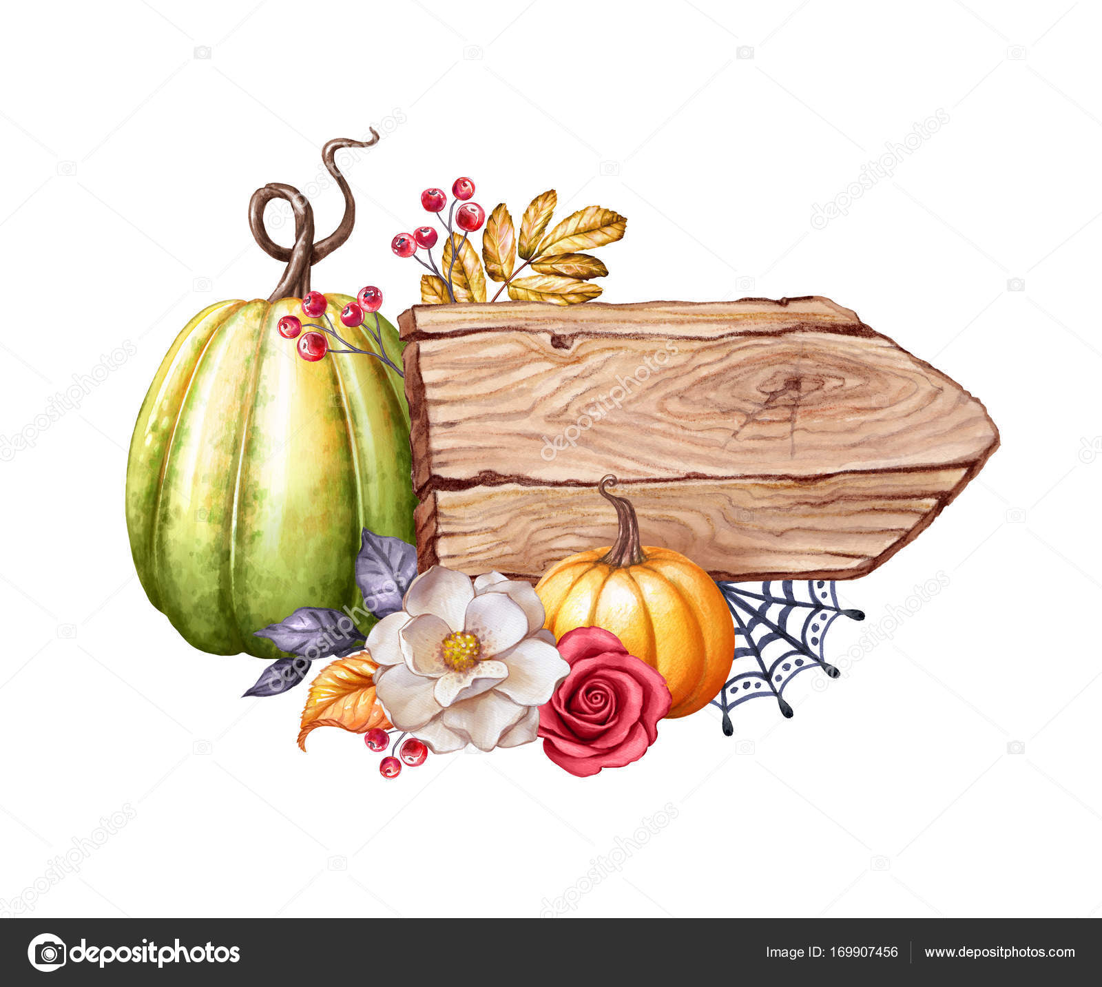 Aquarell Thanksgiving Kartendesign Hölzerne Banner Board Kürbisse