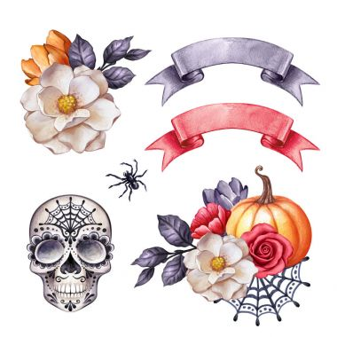 watercolor illustration, Halloween clip art, autumn design elements, skull, flowers, pumpkin, fall, holiday clip art isolated on white background