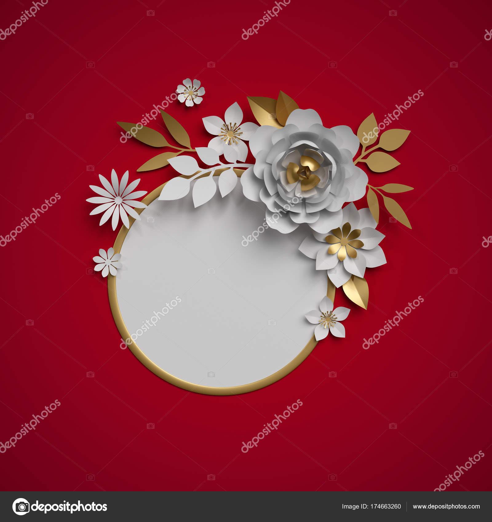 3d render, white gold paper flowers, botanical decor, round frame ...