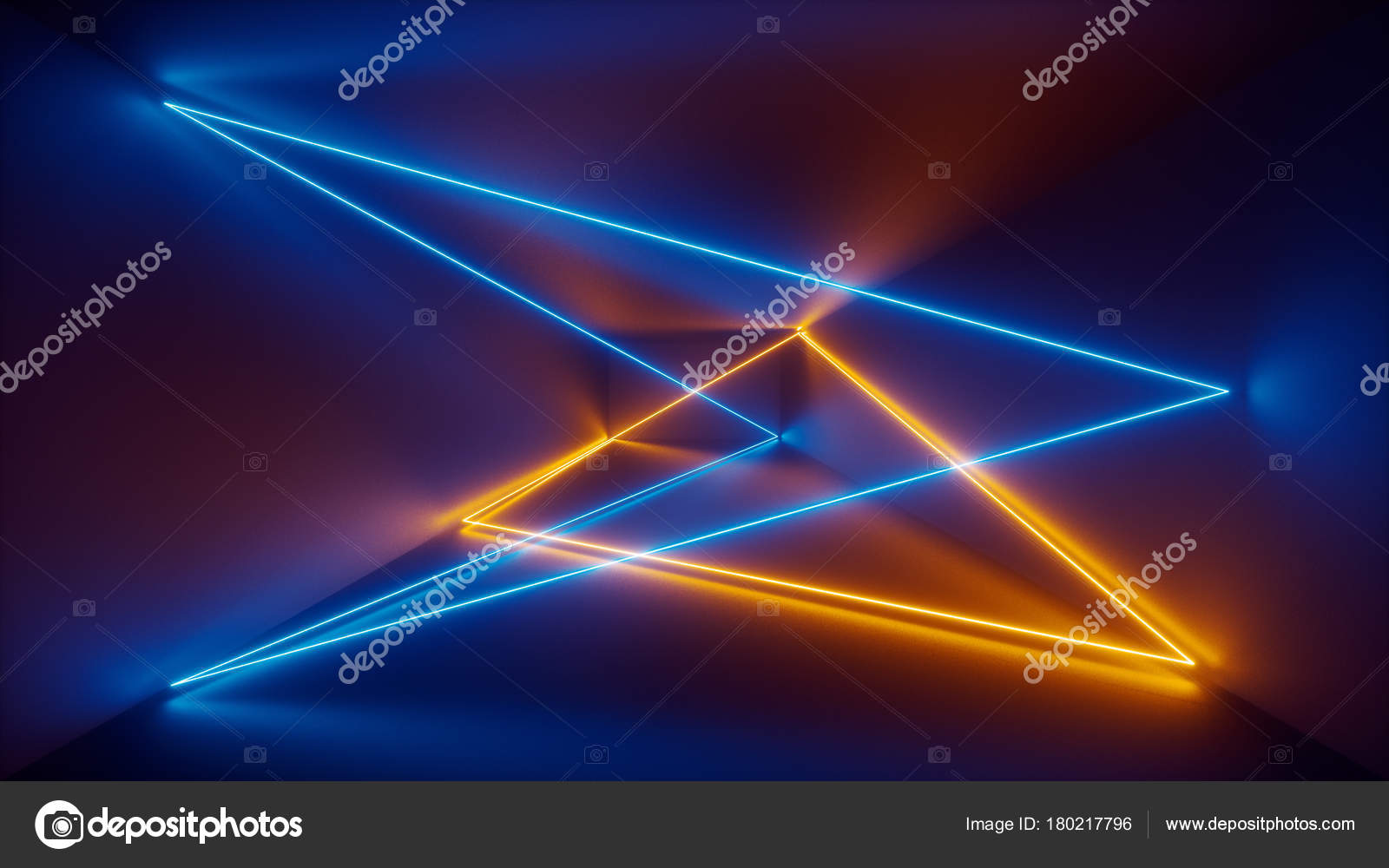 3d Render, Laser Show, Night Club Interior Lights, Blue Yellow Glowing  Lines, Abstract Fluorescent Background, Room, Corridor U2014 Photo By Wacomka