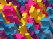 3D vykreslování, digitální ilustrace, růžové žluté modré, barevné pozadí abstraktní, voxel vzor