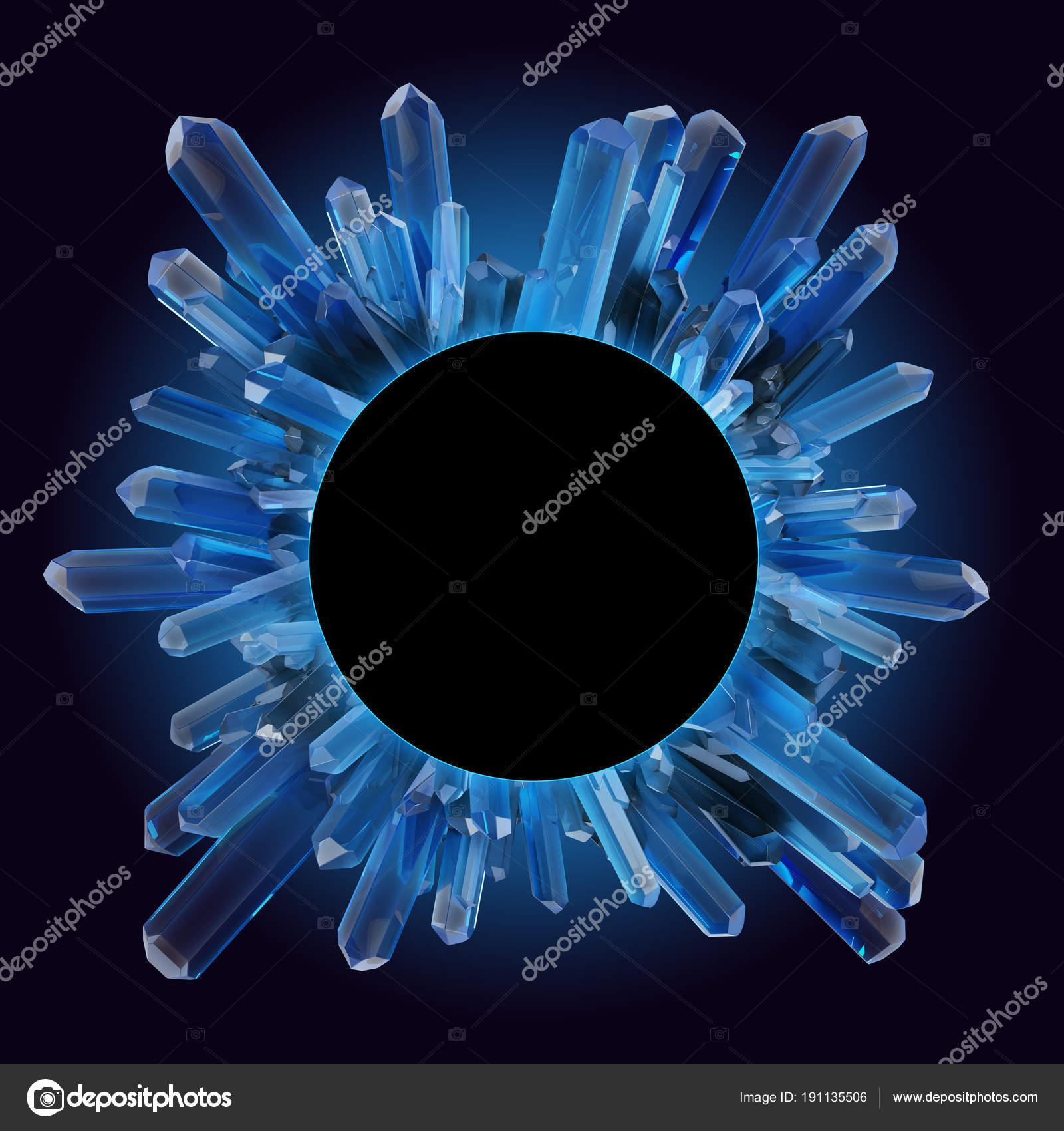 render 3D, Ilustración digital, Resumen cristal redondo marco ...