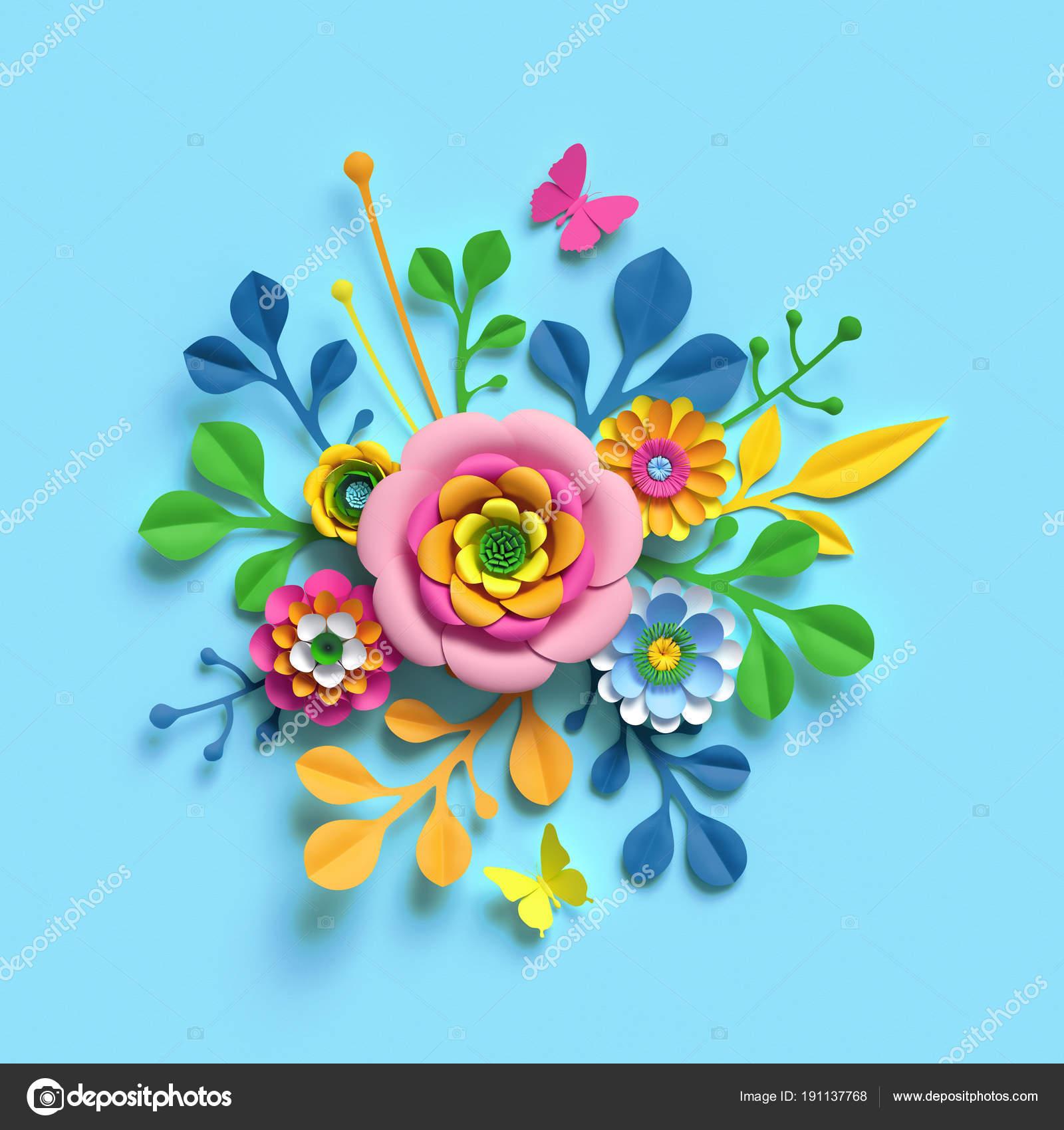 3d Render Craft Paper Flowers Spring Floral Bouquet Botanical
