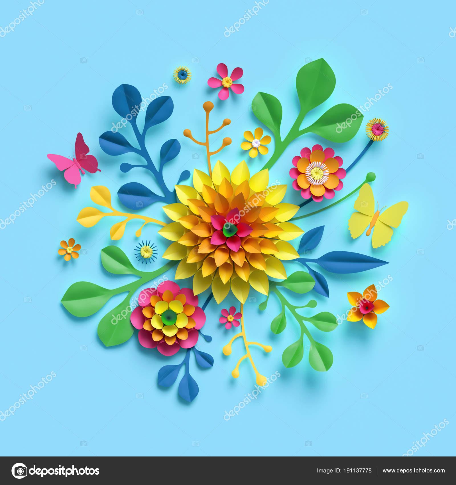 3d render, craft paper flowers, round floral bouquet, yellow dahlia ...