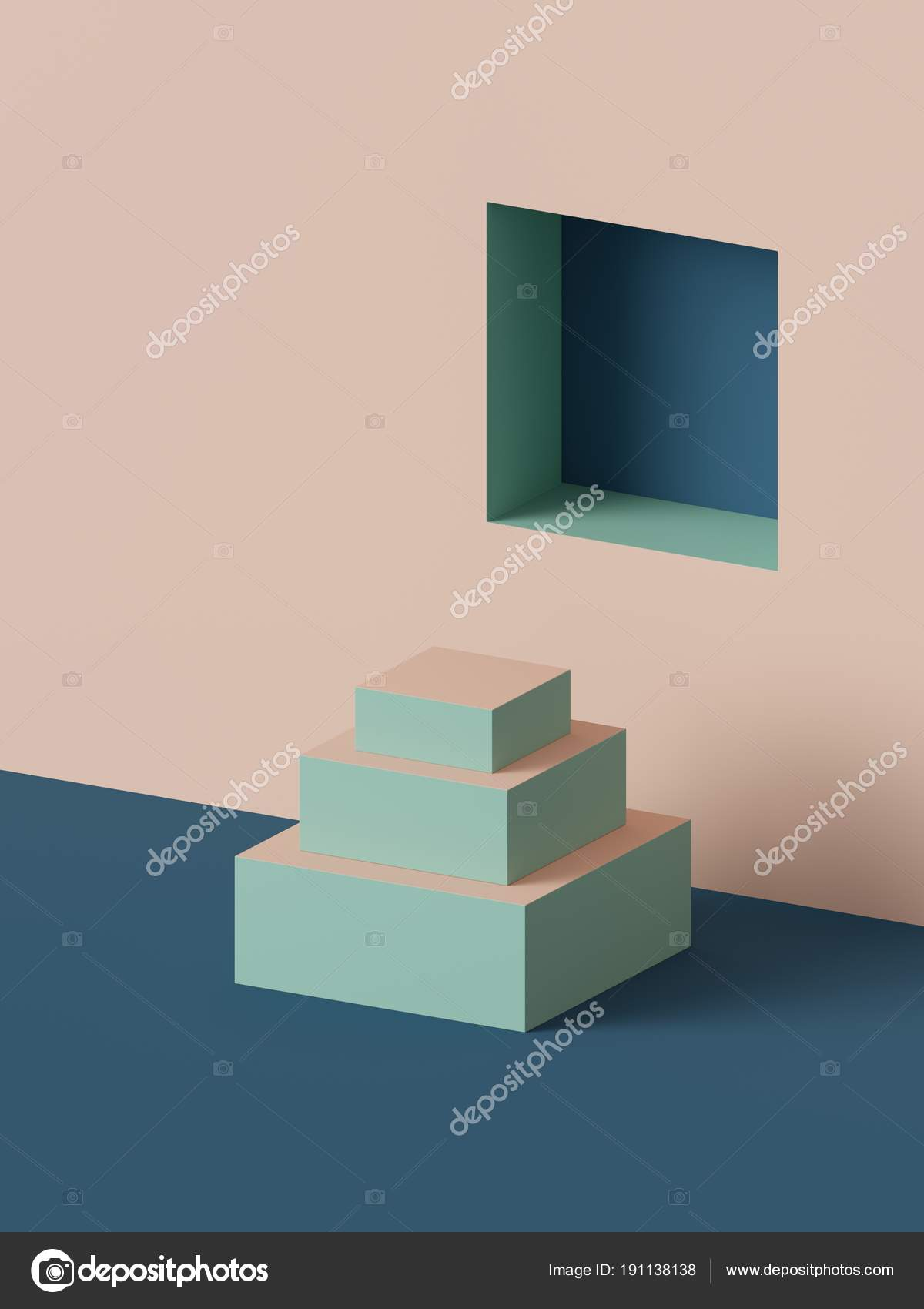 Resumen de antecedentes geométrico, escaleras, 3D render, podio de ...