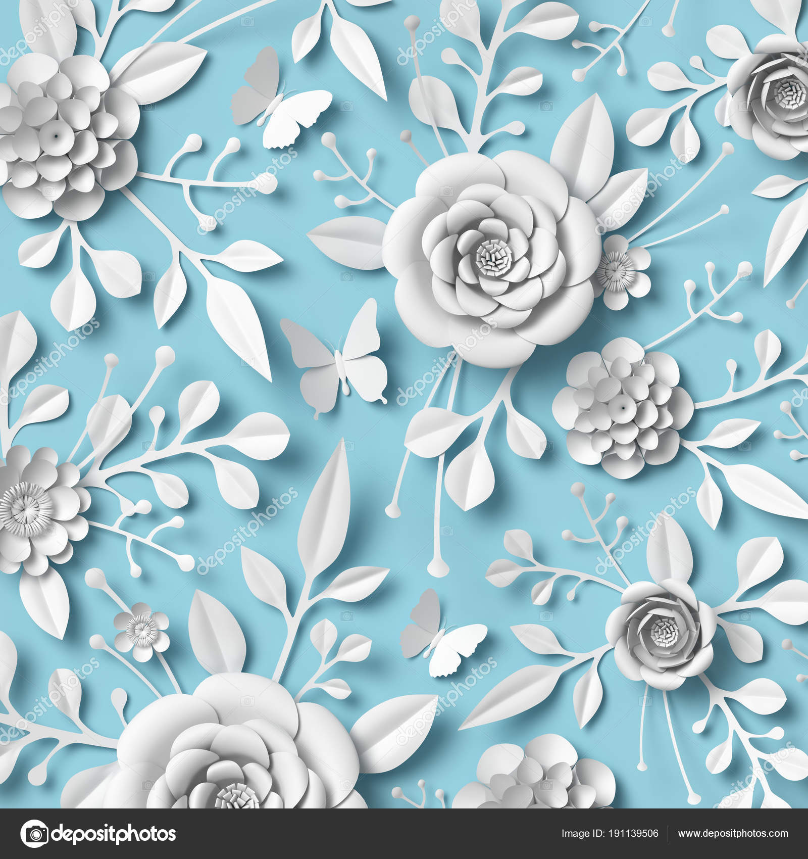 3d rendering white paper flowers on blue background botanical ornament bridal design wedding wall decoration floral pattern photo by wacomka