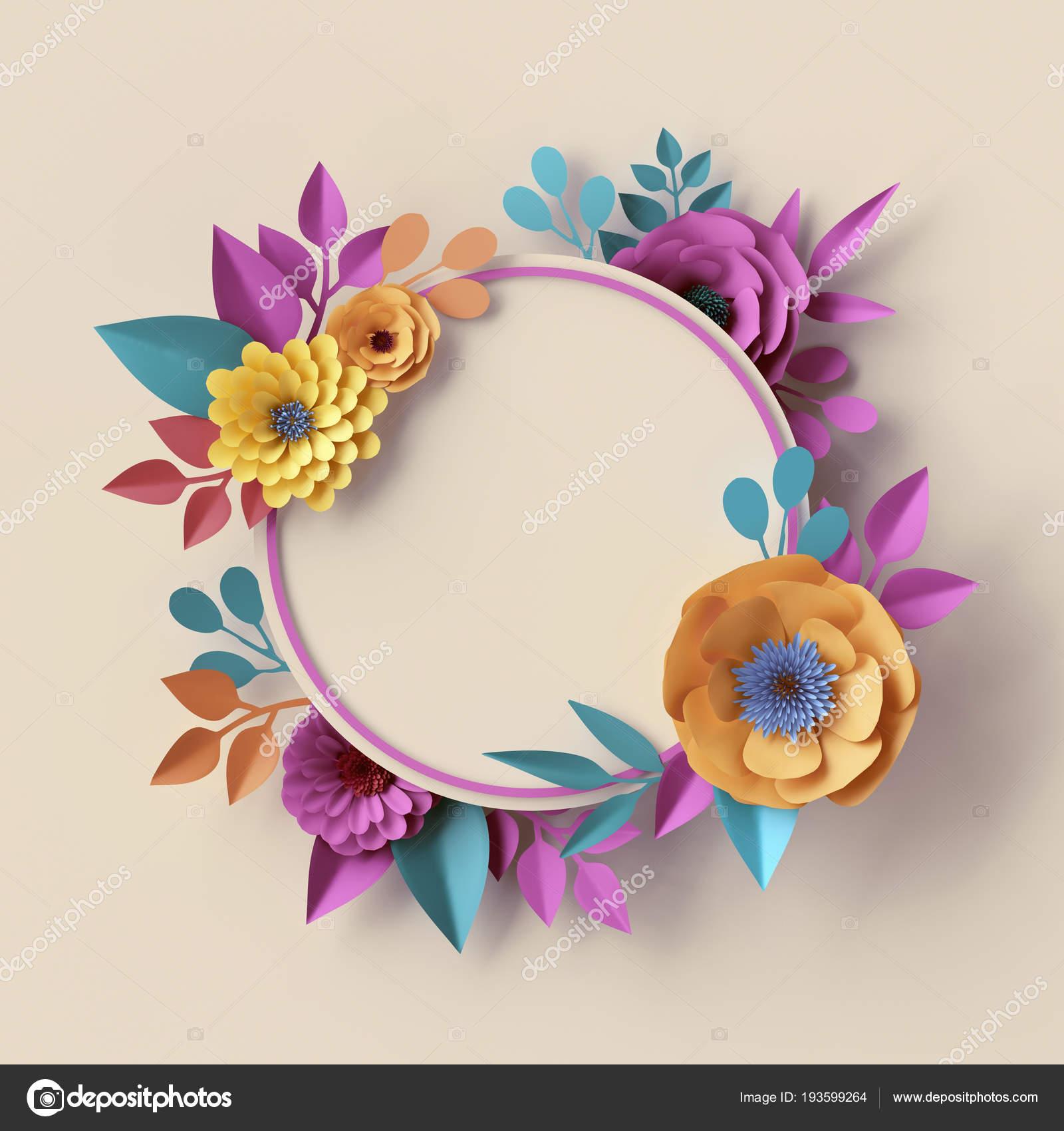 render 3D, guirnalda botánico abstracto, marco, flores de papel ...