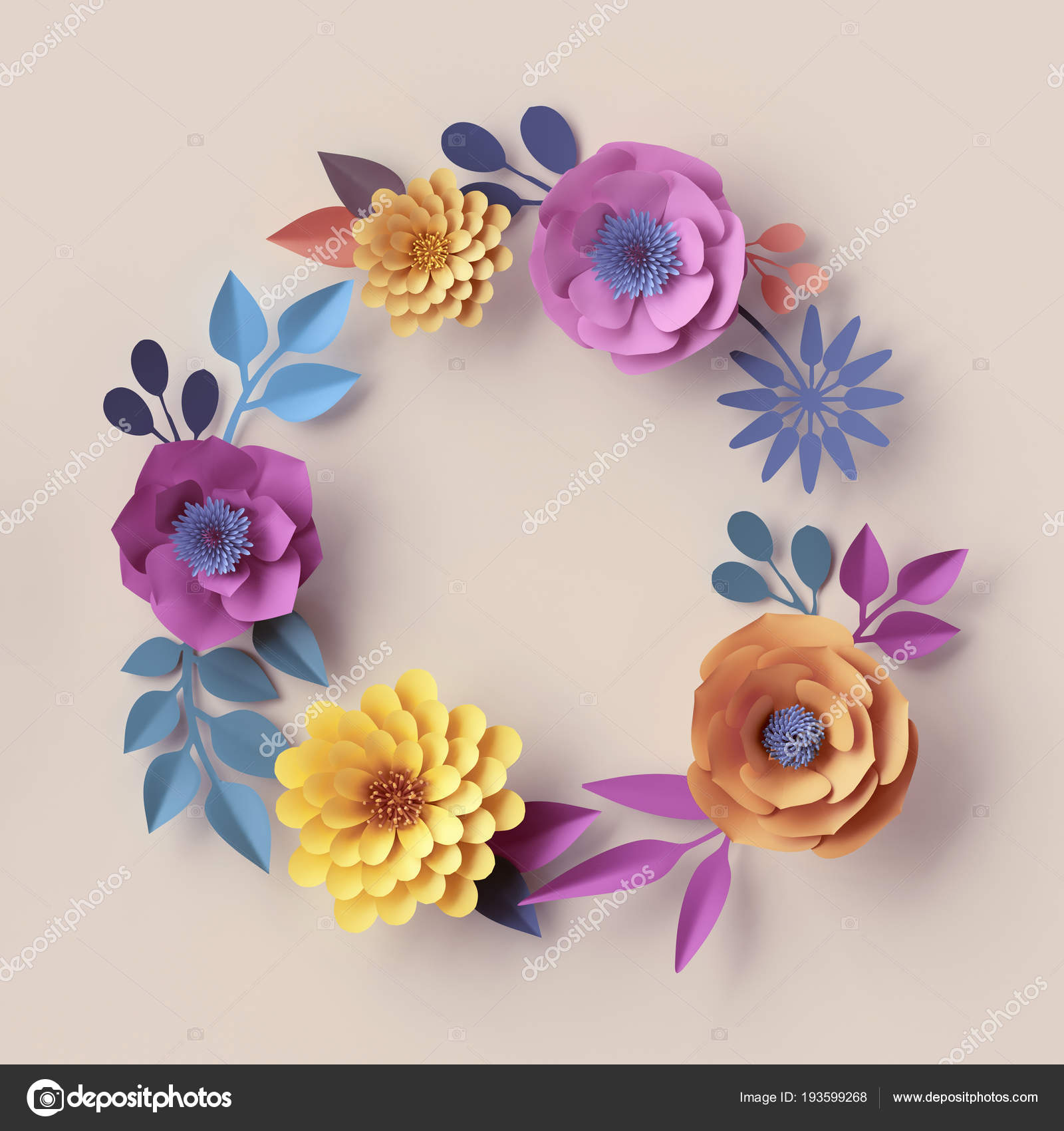 3d Render Pastel Paper Flowers Abstract Botanical Wreath Round