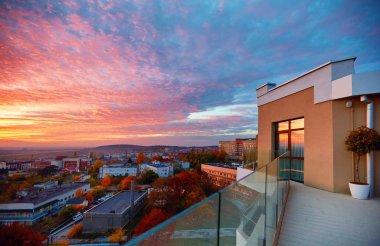 view from rooftop terrace on beautiful sunset. Uzhhorod, Ukraine