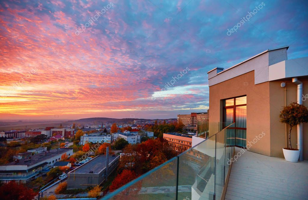 view from rooftop terrace on beautiful sunset. Uzhhorod, Ukraine