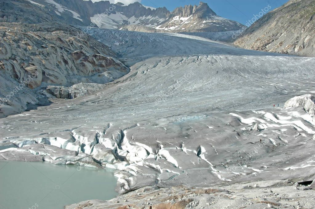 The Rhone glacier and the source