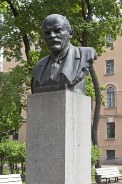 St. Petersburg, Russia - June 18, 2017: Bust of V.I. Lenin near the building of the Imperial Alexander Lyceum in St. Petersburg