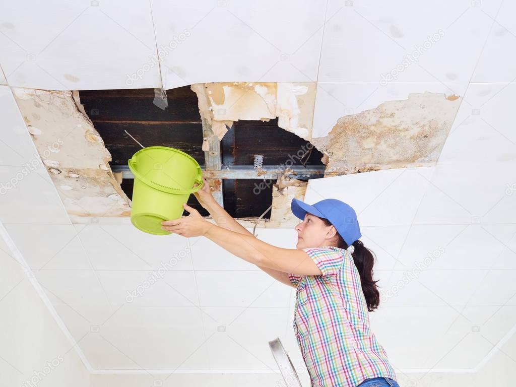 jeune femme de corv e d eau dans le seau du plafond pan de plafond photographie volkovslava. Black Bedroom Furniture Sets. Home Design Ideas