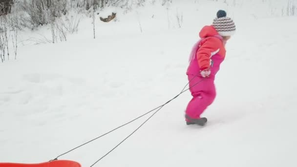kleines Mädchen, spielendes Kind, Rodeln im Park im Winter, Lifestyle-Kinder