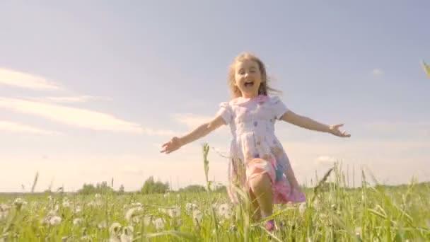 Niedliche kleine Mädchen laufen auf einer Wiese in den Farben der ...