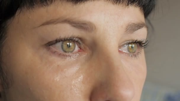 Face of young woman with tear drop close up. Crying Girl. Beautiful Woman Cry.