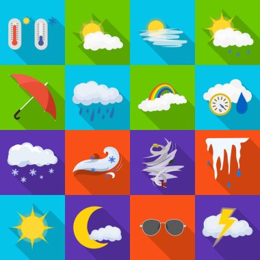 Isolated object of weather and climate sign. Collection of weather and cloud stock vector illustration.
