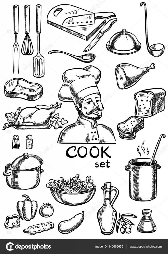 Jeu de cuisinier cuisine ingr dients et mat riel image vectorielle ashusha 140666676 - Liste materiel de cuisine ...