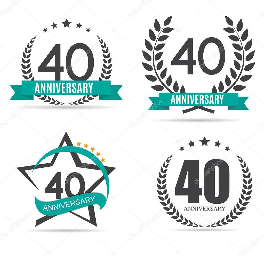 40 jaar logo Sjabloon Logo 40 jaar verjaardag vectorillustratie — Stockvector  40 jaar logo