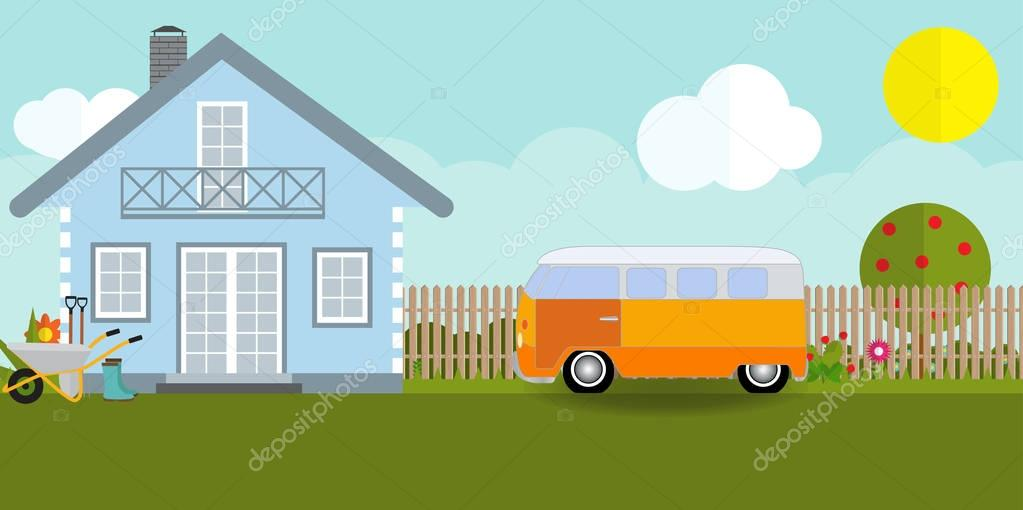 House in nature with apple trees, cars, flowers, garden tools. V