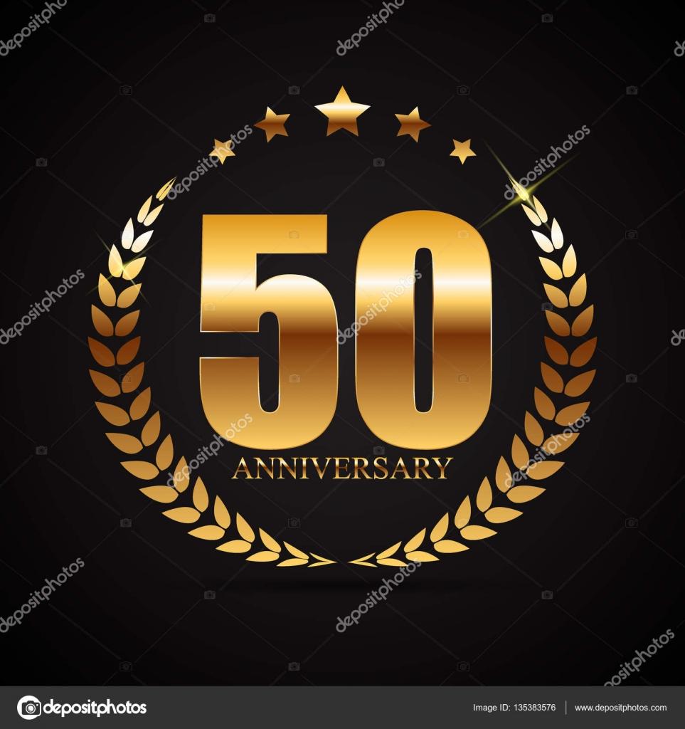 embleem 50 jaar Sjabloon Logo 50 jaar verjaardag vectorillustratie — Stockvector  embleem 50 jaar